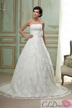 Elegant A-line Lace and Flower Strapless Sleeveless Straight Chapel Train Wedding Dress