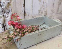 Large wood crate tray hand painted pale blue cottage chic storage, centerpiece, shelf decor anita spero