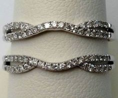 14kt White Gold Split Shank Solitaire Enhancer Diamonds Ring Guard Wrap (0.35ct. tw)...(RG331115863382).! Price: $593.99 #gold #diamonds #ringguard #wrap #enhancer #fashion #jewelry #love #gift