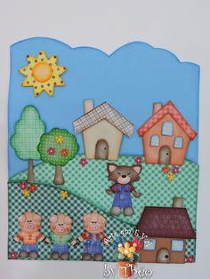 Cartaz Tempo 3 Porquinhos - PEÇA PRONTA | Arte em E.V.A by Théo Ideas Para, Scrapbook, Mother's Day Activities, Three Little Pigs, Homeschool, Pictures To Draw, Diy Crafts, Decorated Notebooks, Pretty Pictures