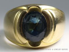 See more items like this on our website! (link in bio!) #HEAVY OVAL DARK BLUE SAPPHIRE RING  14K YELLOW GOLD (SZ 9) #Solitaire