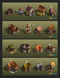 Kingdom Age Buildings by lockjaw on DeviantArt Minecraft Building Guide, Minecraft Plans, Minecraft Buildings, Isometric Map, Isometric Design, Medieval, Game Design, Design Art, Dwarven City