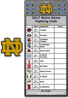 Get your 2017 Notre Dame Fighting Irish Football Schedule App for Mac OS X - Go Irish!  - National Champions 1988, 1977, 1973, 1966, 1949, 1947, 1946, 1943, 1930, 1929, 1924 Free Demo Download.  Download yours at: http://2thumbzmac.com/teamPages/Notre_Dame_Fighting_Irish.htm