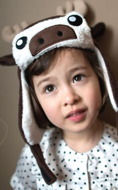 crazyheads Kids Moose Trapper Hat with cute face - SALE $17.49