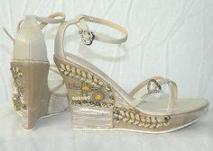 """Beige Natural 4.5"""" Platform Sandal Embellished Sequins Design On Satin"""