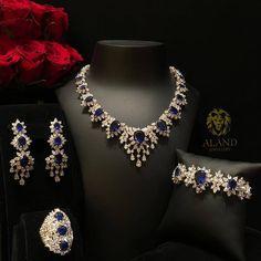 White Gold Over Pear & Oval Cut Blue Sapphire Wedding Diamond Jewelry Set Jewelry Box Store, Jewelry Sets, Fine Jewelry, Jewellery Box, Jewellery Shops, Fashion Jewellery, Jewelry Stores, Sapphire Jewelry, Diamond Jewelry