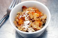 Apricot Crisp. Delicious. Anytime. Especially for breakfast (if it lasts that long) with a dollop of yogurt. (Smitten kitchen)