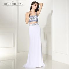 Elegant 2017 Sexy Two Pieces Gown Prom dresses Straps Beaded Crystals long graduation dresses Satin Evening Prom Dress Graduation Dresses Long, Cute Homecoming Dresses, Straps Prom Dresses, Backless Prom Dresses, Prom Party Dresses, Cheap Evening Dresses, Mermaid Evening Dresses, Evening Gowns, Two Piece Gown