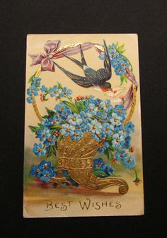 1912 Best Wishes Forget Me Not postcard by WillowValleyVintage