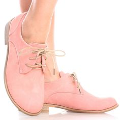 Pink Casual Pastel Lace Up Brogue Oxford Womens Low Mid Heel Shoes
