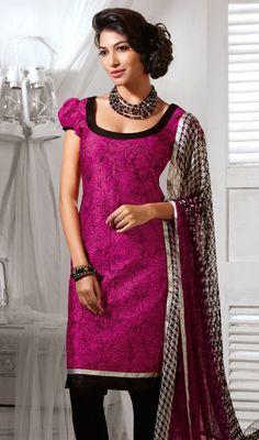 Magenta Shade Cotton Silk Churidar Suit Price: Usa Dollar $98, British UK Pound £58, Euro73, Canada CA$106 , Indian Rs5292.