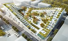 The design proposal seeks to transform the existing landscape into a more dynamic one. In this project, the architects combine the… Architecture Design, Architecture Visualization, Green Architecture, Concept Architecture, Sustainable Architecture, Landscape Architecture, Landscape Design, Dorm Design, Mall Design