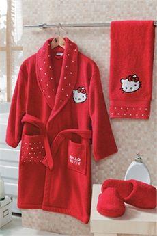 Hello Kitty Özel Kutulu Çocuk Bornozu Seti. 4-6 Yaş Beyaz