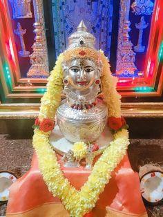Varalakshmi Vratham 2019 honours the most popular Goddess Maha Lakshmi. Varalakshmi Puja or homam on this day means abundant wealth is sure to come your way. Kalash Decoration, Mandir Decoration, Ganapati Decoration, Diy Diwali Decorations, Home Wedding Decorations, Festival Decorations, Ganesh Chaturthi Decoration, Silver Pooja Items, Pooja Mandir