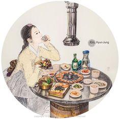 한국화가 김현정 <내숭 : 소주 한점 하고 싶은 밤> 어느 매거진을 보니 소주 한잔 생각나는 저녁 메뉴는 무엇보다 '삼겹살'이라고 합니다! 또, 외국인들이 꼽는, 유학생들이 그리워하는 음식 중 하나가 삼겹살이라고 합니다. . . . #Kimhyunjung #Hyunjungkim #Art #Artist #Hanbok #Feign #OrientalArt #Fineart #Korea #Pork #Soju #김현정 #김현정작가 #한국화 #한국화가 #동양화 #동양화가 #내숭이야기 #내숭 #한복 #삼겹살 #소주 #한잔 #고기