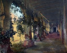Ivy and Rose Cloister, by Wallace Nutting. Photo #2197 in the Wallace Nutting Index. This is a picture taken at the Capistrano Mission in California, by Nutting around 1910. Of all Nutting's Mission pictures, this is probably the one that is the most available for purchase today.