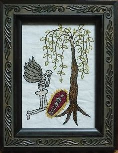 """Raoul, Mavis Leahy, Hand embroidered on vintage linen, repurposed frame 7 1/2"""" x 9 1/2"""" SOLD"""