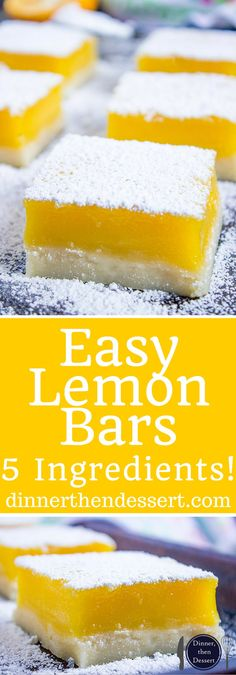 Easy Lemon Bars with just 5 Ingredients are rich, sweet and tart and they taste like they are straight from the bakery. The recipe is from a bakery who has been making them for 50 years. can make w/lime Easy Desserts, Delicious Desserts, Yummy Food, Easy Sweets, Dessert Bars, Cookie Recipes, Dessert Recipes, 16 Bars, Cookies Et Biscuits