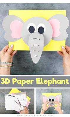 Animal Crafts For Kids, Paper Crafts For Kids, Crafts For Kids To Make, Craft Activities For Kids, Toddler Crafts, Toddler Activities, Preschool Activities, Fun Crafts, Preschool Elephant Crafts