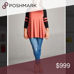"""(Plus) Light coral/ red LS top Baseball/ jersey tops. These are extremely soft and have great stretch! 95% rayon/ 5% spandex. Very true to size- meant to be slightly flowy and not tight. Bust measurement is laying flat and easily stretches well beyond measurement.  1x: L 31"""" • B 40"""" 2x: L 32"""" • B 42"""" 3x: L 33"""" • B 44"""" Availability: 1x•2x•3x • 2•2•2 ⭐️This item is brand new from manufacturer without tags.  🚫NO TRADES 💲Price is firm unless bundled 💰Ask about bundle discounts Tops Tees…"""