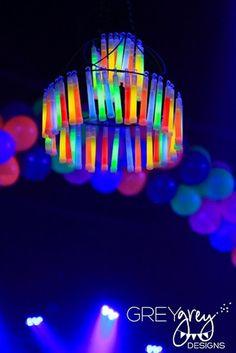 Great ideas...Glow Stick Chandelier  GreyGrey Designs: Underground neon new years party idea @Tiffany Hammer - Click image to find more diy & crafts Pinterest pins