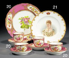 Two Minton pink-ground teacups and saucers and two coffee cups and saucers painted with panels of flowers within gilt scroll cartouches below gilt dentil rims, pattern 5339, circa 1850; and a Coalport pink-ground botanical plate, painted with a specimen spray below a border reserved with three cartouches of flowers, printed mark, retailers mark for Daniell, circa 1860