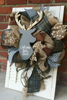 Deer Nursery Decor Gray Deer Wreath Rustic Nursery Woodland Burlap Wreath Antler Deer Baby Shower Burlap Baby Decor Wreath Baby Decor Grey by Underthekentuckysun on Etsy https://www.etsy.com/listing/238155030/deer-nursery-decor-gray-deer-wreath