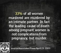 33% of all women murdered are murdered by an intimate partner. In fact the leading cause of death among pregnant women is not complications from pregnancy, but murder. (source: Associated Press April 23, 2003)