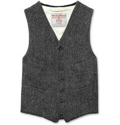 Beams Plus Herringbone Harris Tweed Waistcoat | MR PORTER