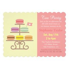 Macaron Tea Party Baby Shower, Sweet Pink Invitation. #teaparty #babyshower