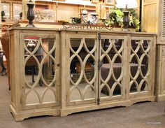 Unique restoration hardware style natural pine sideboard buffet with 4 mirrored doors, interior shelf.  Brand new on consignment from designer home furnishings store. #OnTheShowroomFloor #Unique #Restoration #Hardware #Style #Sideboard #Buffet #Console #Natural #Pine #NEW #Designer #StillGoode