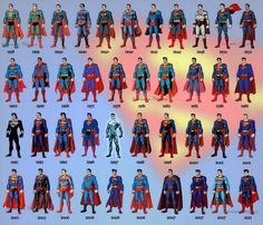 The Evolution of Superman over the years its amazing how he changed starting from 1938 to 2011 I think its comic and cartoon . which superman did u like ? Dc Heroes, Comic Book Heroes, Comic Books Art, Arte Dc Comics, Marvel Vs, Marvel Comics, Supergirl, Superman Family, Man Of Steel