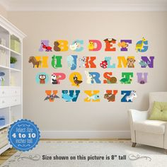 Animals Alphabet ABCs Multicolor Wall Decals By KiddyWalls On Etsy