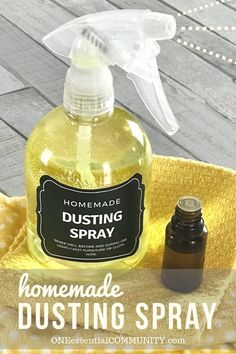 DIY dusting spray with essential oils- cleans and repels dust so you clean less often. Plus it moisturizes, nourishes, and protect wood. It's like a combined dusting spray and wood polish.