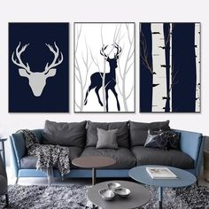 Nordic Deer Silhouette Galerie Wall Mix & Match - Silver Lining Painting Prints, Wall Art Prints, Eclectic Gallery Wall, Castle Painting, Sheet Music Art, Bohemian Wall Art, Deer Silhouette, Nordic Art, Wall Art Pictures