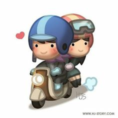 Love is. taking her on a long drive to a peaceful place away from the chaos of city. Love Cartoon Couple, Cute Cartoon Pictures, Cute Love Cartoons, Cute Pictures, Chibi Couple, Funny Pics, Hj Story, Cute Love Stories, Love Story