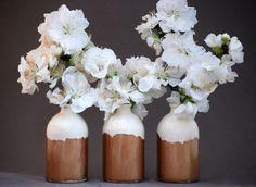 White and Copper Minimalist Bud Vases // Set of Three