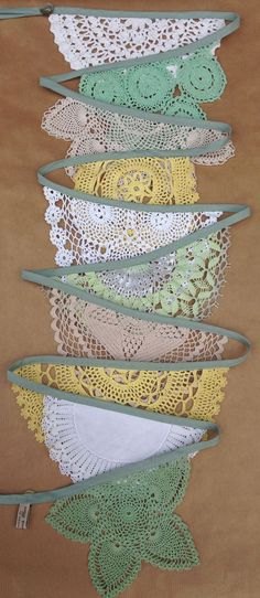 --- Vintage Doily Wedding Bunting Garland (Grande Fern and Primrose) Handmade Crochet in Green, Lemon, Beige, White and Cream! Doily Wedding, Wedding Bunting, Wedding Cards, Craft Projects, Sewing Projects, Bunting Garland, Doily Bunting, Bunting Ideas, Buntings