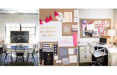TheEverygirl: Sugar Paper studio (XL fabric bulletin board with nailhead trim is from Ballard Designs)