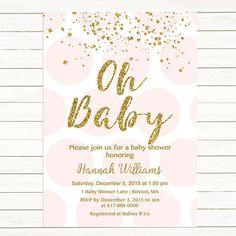 Pink and Gold Baby Shower Invitation, Gold Confetti Baby Girl Shower Invitation, Pink Gold Polka dots Digital JPEG PDF Printable