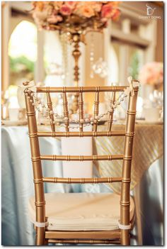 Gold chiavari chair decoration wth crystal chains | Event Planning, Styling & Design: Manna Sun Events | www.mannasunevents.com | Photo: Danny Dong Photography
