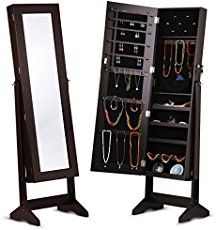 SONGMICS 6 LEDs Jewelry Cabinet Lockable Wall Door Mounted Jewelry