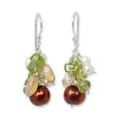 NOVICA Hand Crafted Pearl Dangle Earrings ($26) ❤ liked on Polyvore featuring jewelry, earrings, beaded, citrine, clothing & accessories, novica earrings, long pearl earrings, long beaded earrings, novica jewelry and beading earrings