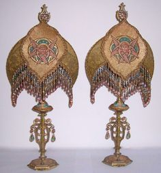 Pair 19th C French Vestment Angel Table Lamps Boudoir Mantle.