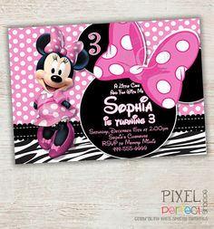 Items Similar To Zebra Minnie Mouse Birthday Invitation Pink Polka Dot First Second Third Printable DIY