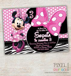 Zebra Minnie Mouse Birthday Invitation, Pink Minnie Mouse Polka Dot, Pink Minnie Mouse First Second Third Birthday Invitation Printable DIY