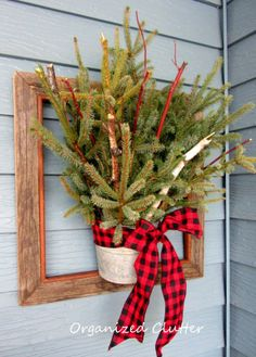 Easy way to decorate with live boughs.