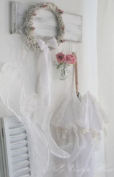 handmade wreath, handmade angel wings out of lace, and pretty roses (at NELLY VINTAGE HOME)