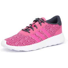 Adidas Neo Lite Racer Solar Pink/Boonix (£33) ❤ liked on Polyvore featuring shoes, synthetic shoes, pink shoes, lightweight shoes, pink cheetah print shoes and cheetah print shoes