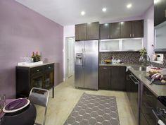 Kitchen Cousins: Streamlined kitchen with purple walls.